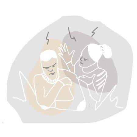 girl swears at a man, stress emotions, linear illustration 矢量图像