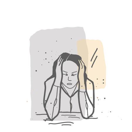 Stess desperate girl holding her head line art illustration