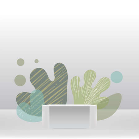 Podium wave leaf style nature abstract surreal empty scene spring