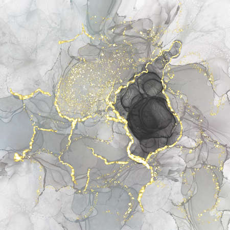 Kintsugi style abstract luxury composition Inkscapes. Watercolour landscape, texture, Alcohol ink, Fluid chaos, art, liquid marble and watercolor black and gold