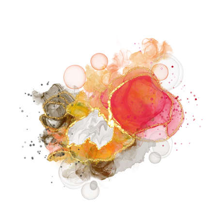 Red and orange bright swirls abstract luxury composition Inkscapes. Watercolour landscape, texture, marbling, Alcohol ink, Fluid chaos, art, kintsugi style and liquid marble and watercolor