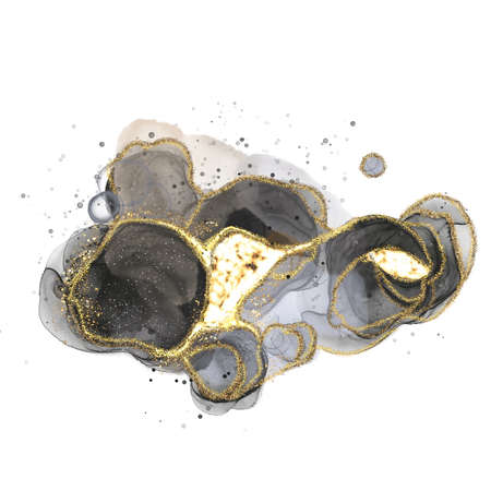 Swirls abstract luxury composition Inkscapes. Watercolour landscape, texture, marbling, Alcohol ink, Fluid chaos, art, kintsugi style and liquid marble and watercolor