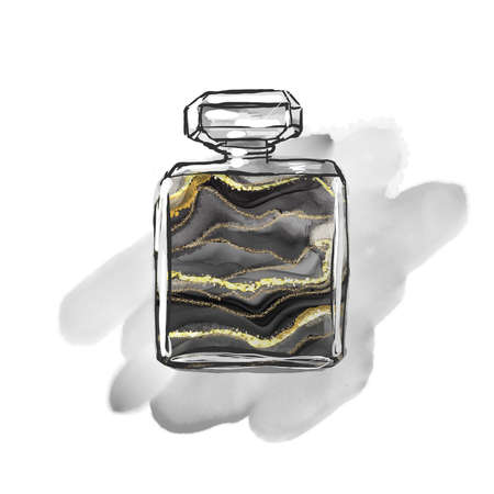 Perfume print luxury composition Inkscapes. Watercolour texture, marbling, alcohol ink, kintsugi style and liquid marble Archivio Fotografico