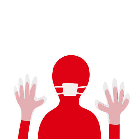 Man hands up covid virus protection sign gloves and mask red bright color Vettoriali