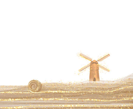 Mill field wheart rual scenery with haystack watercolor style with gold shine