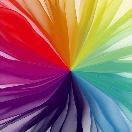 rainbow textile translucent fabric chiffon center cover background Archivio Fotografico