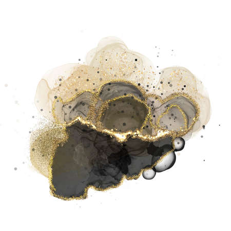 Swirls abstract luxury composition Inkscapes. Watercolour landscape, texture, marbling, Alcohol ink, Fluid chaos, art, kintsugi style and liquid marble and watercolor black and gold
