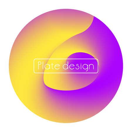 Template plate bright trendy neon print round shape purple orange color gradient Vettoriali