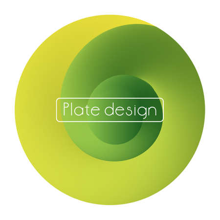 Template plate bright trendy neon print round shape yellow green color gradient Vettoriali