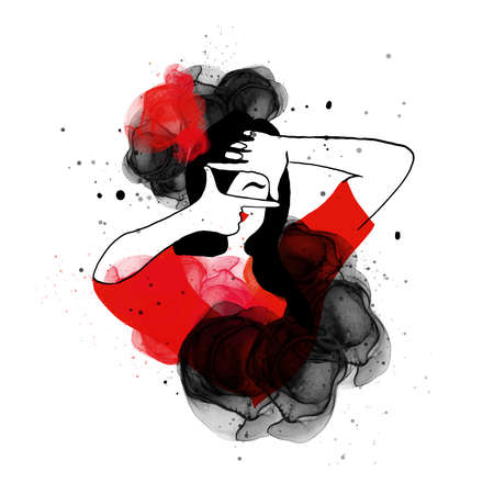 Watercolor woman emotion black red bright illustration photographer, gesture frame, Asian style