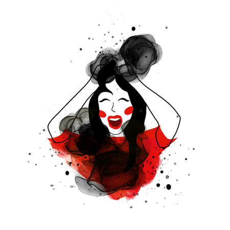Watercolor woman scream emotion black red bright illustration Asian style