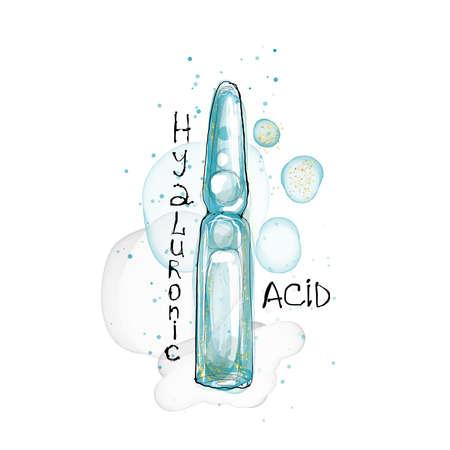 Hyaluronic acid ampoule watercolor illustration injection ampule Archivio Fotografico