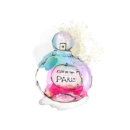 Fashion illustration perfume watercolor rainbow color print glitter texture
