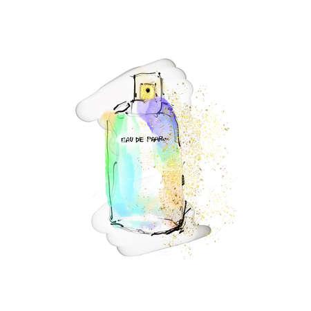 Perfume watercolor Fashion illustration rainbow color print glitter texture Archivio Fotografico