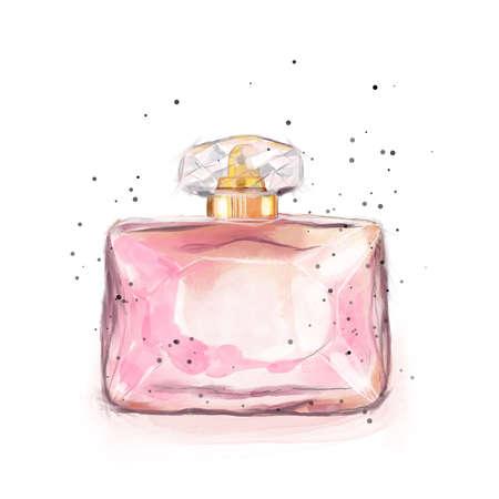 Fashion illustration perfume watercolor pink color print