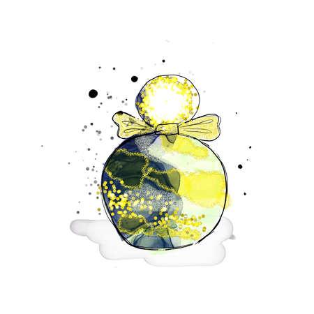 Fashion illustration gold perfume watercolor yellow color print glitter texture Archivio Fotografico