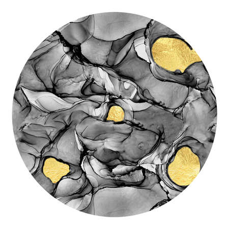 Marbling abstract luxury composition Inkscapes. Alcohol ink, Fluid chaos, art, kintsugi style and liquid gold foil grey texture circle