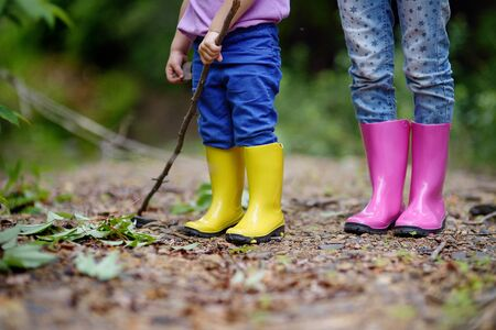 Two pairs of color childrens gumboots standing children. Walk in color rubber childrens boots