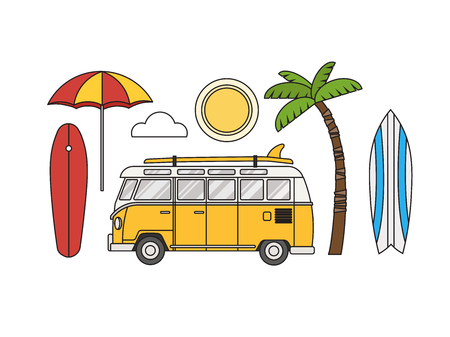 Vintage yellow travel bus. Camper cartoon van. Tourist coach in flat design with surf board. Illustration