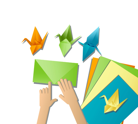 Children's hands do origami from colored paper on white background. Illustration