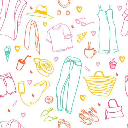 Seamless pattern. Fashion sketch. Casual style. Fashion doodles. Clothes sketches. Illustration