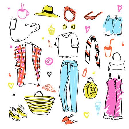Conjunto de garabatos de ropa. Boceto de moda. Vestir. Atuendo. Coleccion de moda. Estilo casual. Garabatos de moda. Bocetos de ropa. Usar jeans. Camiseta de manga corta.