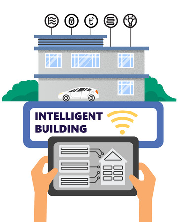 Smart intelligent building vector concept Building automation with computer networking illustration Management system platform future technology