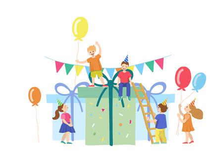 Niños pequeños con tarta gigante y velas. Ilustración de vector. Vacaciones para niños. Partido.