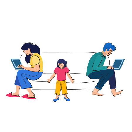 Busy parents work behind laptops. Kid want attention from adults. People with kids vector illustration Banco de Imagens