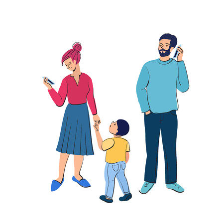 Busy parents with smartphones. Kids want attention from adults. Vector illustration