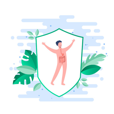 Probiotics benefits. Influence of probiotics on a human body. Conceptual illustrations of probiotics within the human body. protection of an organism