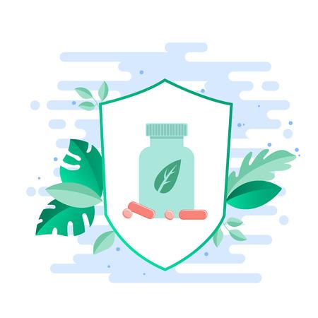 Beneficios de los probióticos. Botella grande con probióticos, vitaminas en el contexto de plantas medicinales. Vector