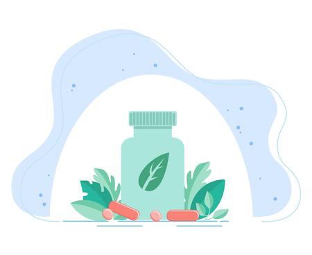 Vorteile von Probiotika. Große Flasche mit Probiotika, Vitaminen vor dem Hintergrund von Heilpflanzen. Vektor Vektorgrafik