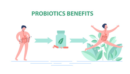 Probiotics benefits. Scheme of influence of probiotics on a human body. Illustration
