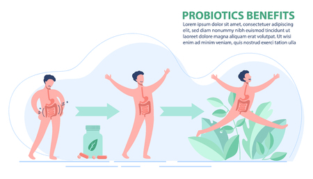 Probiotics benefits. Scheme of influence of probiotics on a human body. Conceptual illustrations of probiotics within the human body