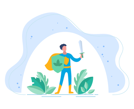 Beneficios de los probióticos. La persona con protectores de espada y tabla. Protección de un cuerpo humano contra un efecto adverso del mundo exterior. Ilustraciones conceptuales de probióticos dentro del cuerpo humano. Ilustración de vector