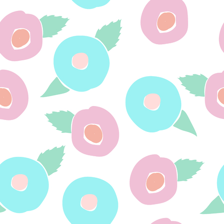 Vector floral Seamless pattern in doodle style with flowers and leaves on white background. Gentle, spring floral background. Pink-blue, mint tone.