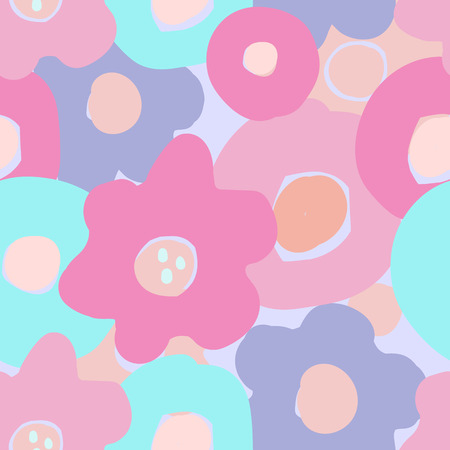 Vector floral Seamless pattern in doodle style with flowers and leaves. Gentle, spring floral background. Pink-blue, mint tone.