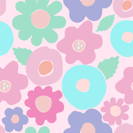 Vector floral Seamless pattern in doodle style with flowers and leaves on pink background. Gentle, spring floral background. Pink-blue, mint tone. Illustration