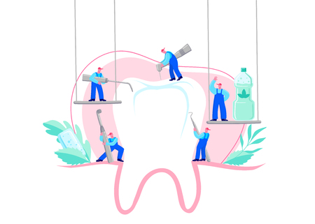 Small men treat, clean big tooth dental insturment. Dentistry work concept. Handdraw vector illustration. Care of teeth