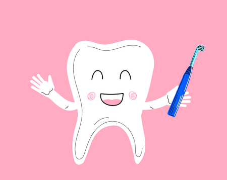 Handdraw vector illustration. Lovely healthy tooth in a gum.