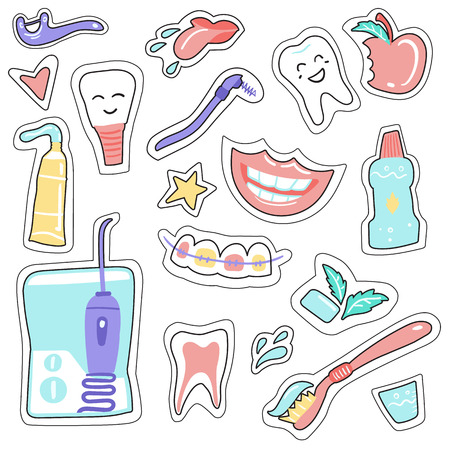Stickers on a dental subject Dental care. Hand drawn elements. Doodle  イラスト・ベクター素材