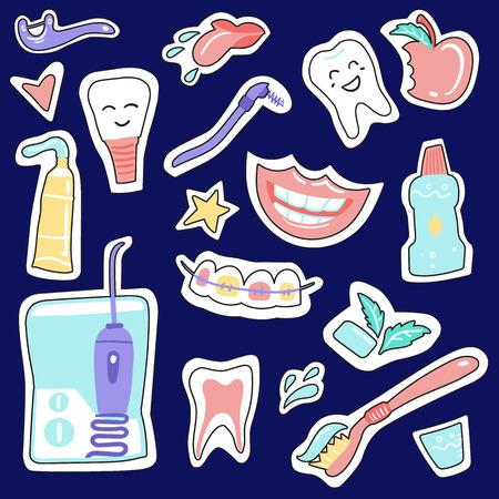 Stickers on a dental subject Dental care. Hand drawn elements. Doodle Ilustração