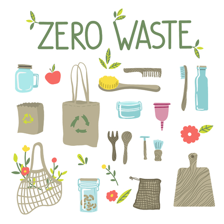 Zero waste concept, recycle and reuse, reduce - ecological lifestyle, set with lettering. Ecostyle. Doodles elements. No plastic. Vector illustration