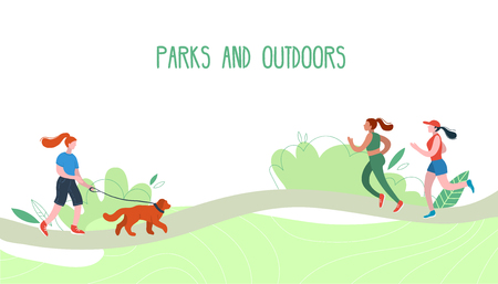 People relaxing in nature in a beautiful urban park. Flat figures of human wolking outdoors. Outdoor activities