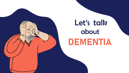 Elder humans. Aged people. Difficulties of older persons. An elderly man suffers from dementia Vector Illustratie