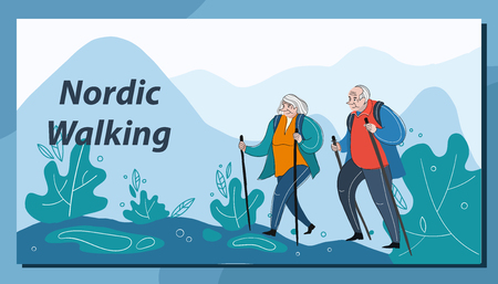 Older people fun leisure and sport activity life style. An elderly couple traveling. A man and a woman climb the mountains. Nordic walking.
