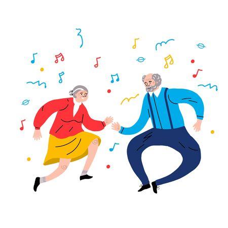 Dancing Grandparents. Elder dancers. Vector flat portrait of old cute loving couple. Cartoon style. Character illustration. Healthy lifestyle.