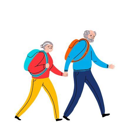 Elderly couple holding hands are going camping for a walk .Grandmother and grandfather together. Grandparents. A man and a woman of old age. Character illustration. Healthy lifestyle.