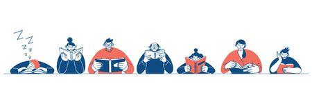 Contour de bannière horizontale. Le concept de journée de lecture. Les gens qui font la queue et lisent des livres. illustration vectorielle minimale de style design plat.